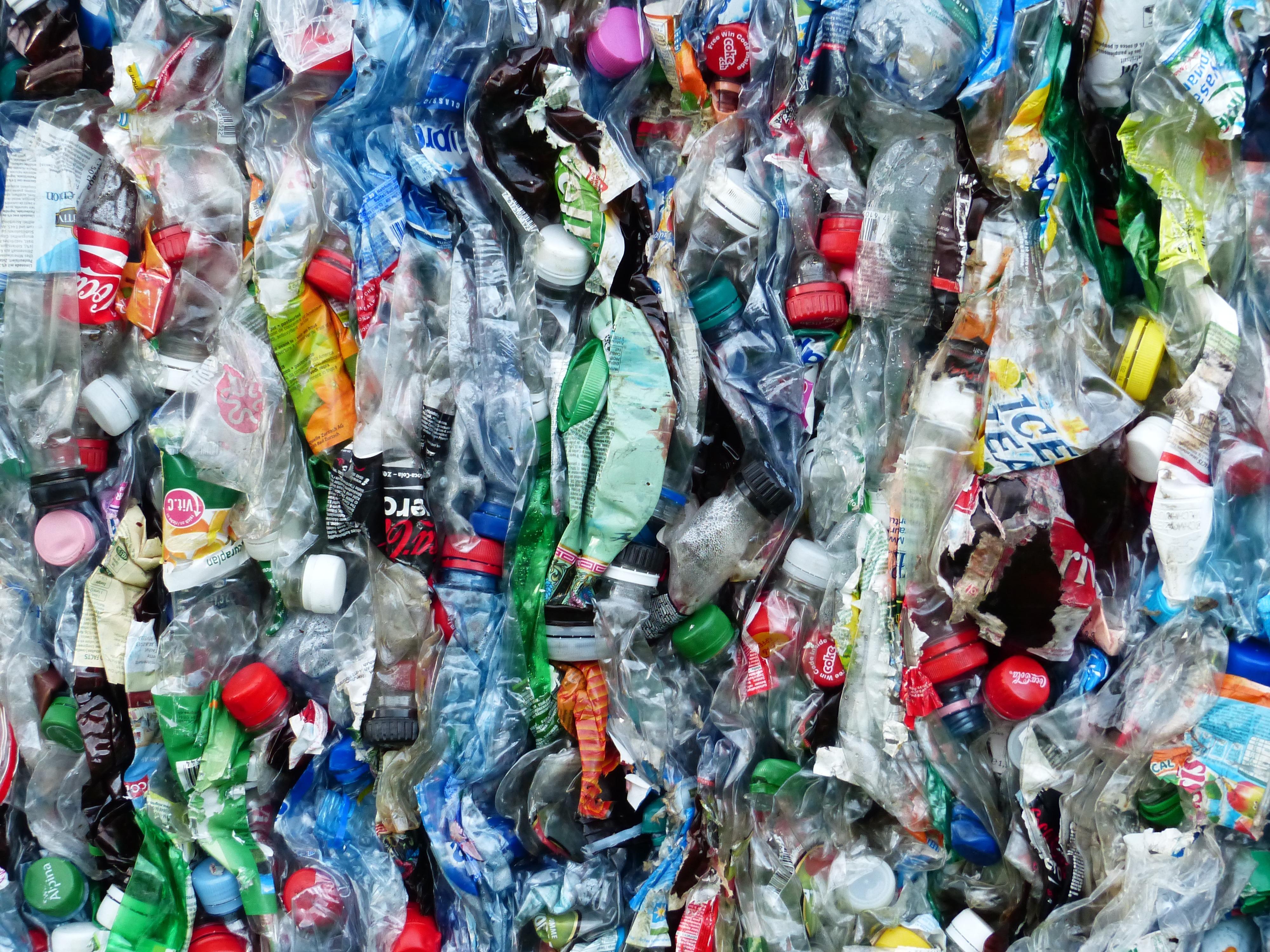 Plastikflaschen auf dem Weg zur Wiederverwertung.
