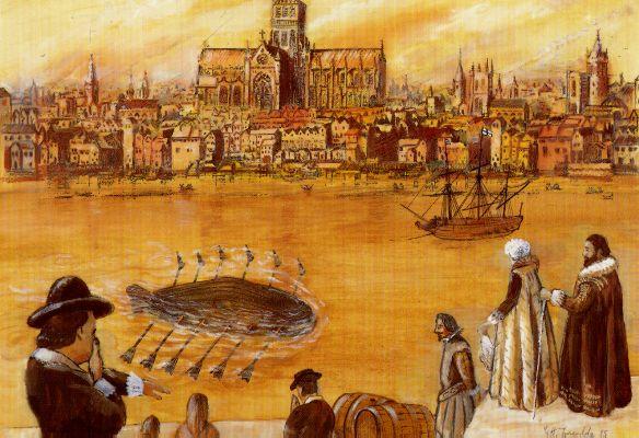 Drebbels erstes Unterseeboot. 17. Jahrhundert - Lithographie von G. W. Tweedale